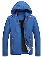 Men's Long Sleeve Casual / Sport JacketPolyester Solid Black / Blue