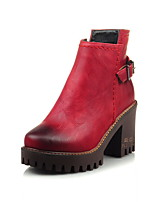 Women's Boots Spring / Fall / Winter Platform / Fashion Boots Leatherette / Casual Chunky Heel ZipperBlack / Red / Gray