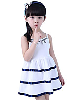 Girl's Casual/Daily Striped Dress,Cotton Summer Pink / White / Yellow