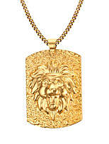 Men's Fashion Generous  Lion  Rectangle Stainless Steel Gold Plated Pendant Necklaces(1pc)