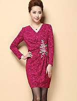 Boutique S Women's Plus Size / Going out / Casual/Daily Chinoiserie Shift DressEmbroidered Above Knee Long Sleeve Fall