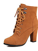 Women's Boots  / Fall / Winter Fashion Boots Leatherette / Casual Chunky Heel Lace-up Black / Brown / Yellow Others