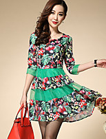Boutique S Women's Plus Size / Going out / Casual/Daily Street chic A Line DressFloral / Patchwork Round Neck Above Knee