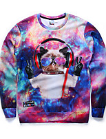 New Fashion Men Hip Hop Wearing Earphone Kitten Printed Pullover Long Sleeve 3d Sweatshirt