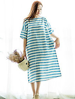 Ramie Cotton Women's Beach Vintage Loose DressStriped Round Neck Midi Short Sleeve Blue Linen Summer Mid Rise Inelastic