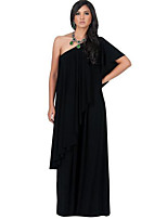Women's Party / Club Sexy / Simple Shift DressSolid One Shoulder Maxi Short Sleeve