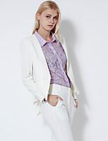 C+IMPRESS  Women's Work Simple All Seasons BlazerSolid V Neck Long Sleeve White / Purple Cotton Opaque