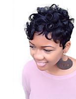 onduladas cortas pelucas de cabello natural humano para la mujer negro