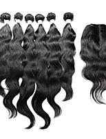 7 предметов Естественные волны Ткет человеческих волос Индийские волосы Ткет человеческих волос Естественные волны