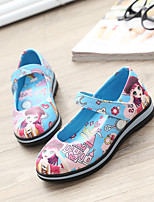 Girl's Flats Summer Fall PU Outdoor Flat Heel Animal Print Magic Tape Blue Pink Purple Other