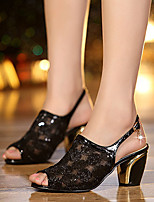 Women's Sandals Summer Comfort Microfibre Casual Chunky Heel Buckle Black / Gold Others