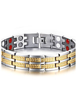 Men's ID Bracelets Jewelry Halloween/Party/Birthday/Daily/Casual Fashion Titanium/IP Gold Plating /White 1pc  Gift