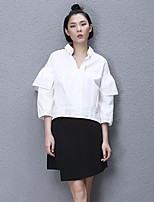 Women's Casual/Daily Simple All Seasons ShirtSolid Shirt Collar Long Sleeve White Cotton