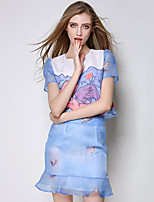 Women's Going out Sophisticated Summer Set Skirt Suits,Print Round Neck Short Sleeve Blue Polyester Medium