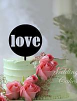 Kakepynt Ikke-personalisert Monogram Akryl Bryllup Blomster Svart Klassisk Tema 1 Gaveeske