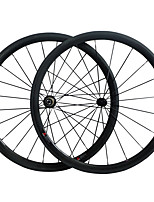 38C Carbon Fiber 700c Road Bike Wheelsets 38mm Clincher R13 Hub and 3k Weave Clear /Matte Finish Wheels 23mm Width