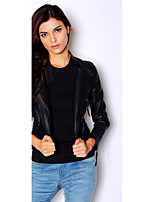 Women's Casual/Daily Simple Winter JacketsSolid Stand Long Sleeve Black PU Thin