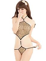 Feminino Conjunto Roupa de Noite,Sexy / Retro Leopardo,Fino Náilon / Raiom Preto Mulheres