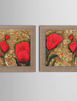 Modern Wall Art Pictures Abstract Oil Painting Red Flower Hand-Painted On Linen Home Decoration Painting With Frame