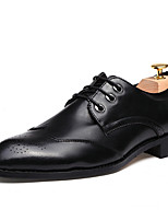Men's Oxfords Pointed Toe Leatherette Office & Career / Party & Evening Flat Heel Lace-up Black / Gray / Burgundy