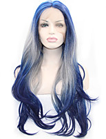 3 Tones Synthetic Lace Front Wig Black Blue Grey Ombre Hand Tied Wavy Wigs Sysntheic Lace Wigs