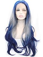 3 тона синтетический парик фронта шнурка черный синий серый ломбера рукой, привязанной волнистые парики sysntheic парики шнурка