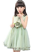 Girl's Going out Solid DressCotton / Polyester Summer Green / Pink / Purple