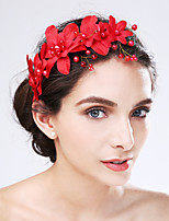 Women's Imitation Pearl / Acrylic / Fabric Headpiece-Wedding / Special Occasion Flowers 1 Piece Red