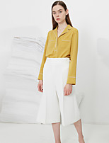 C+IMPRESS Women's Going out Simple Spring / Fall ShirtSolid Peaked Lapel Long Sleeve Yellow Polyester Medium