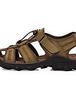 Sandály-Kůže-Sandály-Pánské-Hnědá / Žlutá / Khaki-Běžné-Plochá podrážka