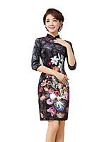 Classic & Traditional Lolita Skirt 3/4-Length Sleeve Short Length Black Lolita Dress Silk