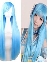 Cheap 80CM Long Length Light Blue Silky Miku Cosplay Lolita Wigs