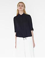 Women's Work Simple Spring / Fall ShirtSolid Shirt Collar  Length Sleeve Blue / White / Black Cotton