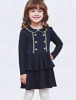 Girl's Casual/Daily Embroidered DressCotton Spring / Fall Blue / Pink
