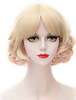 Powder mixed golden highlights the neat bang small volume Small and pure and fresh college wind wig