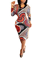 Women's Casual/Daily Vintage Bodycon DressPrint Round Neck Midi Long Sleeve Black Polyester All Seasons