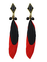 Earring Others Drop Earrings Jewelry Women Fashion / Bohemia Style Party / Daily / Casual Alloy / Feather 1 pair Red KAYSHINE