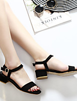 Women's Sandals Spring Summer Comfort Microfibre Casual Chunky Heel Buckle Black Gray Walking