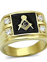 Men's Stainless Steel CZ Masonic Ring AAA Quality Cubic Zirconia Ionic Gold Plated Environmental Material Lead Free