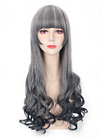 Grey Mixed Color Synthetic Wigs Fashion Long Wave Women Cosplay Wigs
