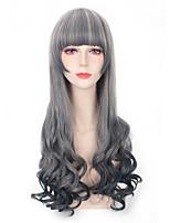 серый смешанный цвет синтетические парики парики способа длинные волны женщины косплей