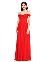 Lanting Bride® Floor-length Chiffon Bridesmaid Dress - Elegant A-line Off-the-shoulder with Pleat
