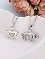 2 Pcs/Set Europe Fashion Pendant Necklaces Best Friends Necklace Silver Plated Link Chain Jewelry Gifts For Friends