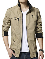 Men's Long Sleeve Casual / Work Jacket Coat Cotton / Polyester Fashion Solid Regular Zipper / Single Breasted Outerwear