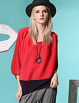 BURDULLY  Going out Simple / Street chic Spring / Fall T-shirtSolid / Color Block / Plaid Round Neck Sleeve