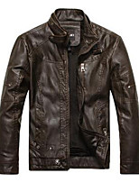Men's Long Sleeve Casual JacketPU Solid Black / Brown / Yellow