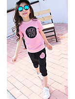 Girl's Casual/Daily Print BlouseCotton Summer Pink
