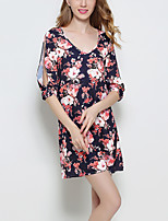 Women's Casual/Daily Vintage / Street chic Cut Out Loose Sheath DressFloral V Neck Mini  Length Sleeve