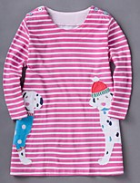 Girl's Casual/Daily Striped Dress / BlouseCotton Spring / Fall Pink / Purple / Beige / Gray