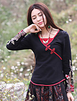 Our Story Going out Chinoiserie Spring / Fall T-shirtEmbroidered V Neck Long Sleeve Black Cotton / Polyester